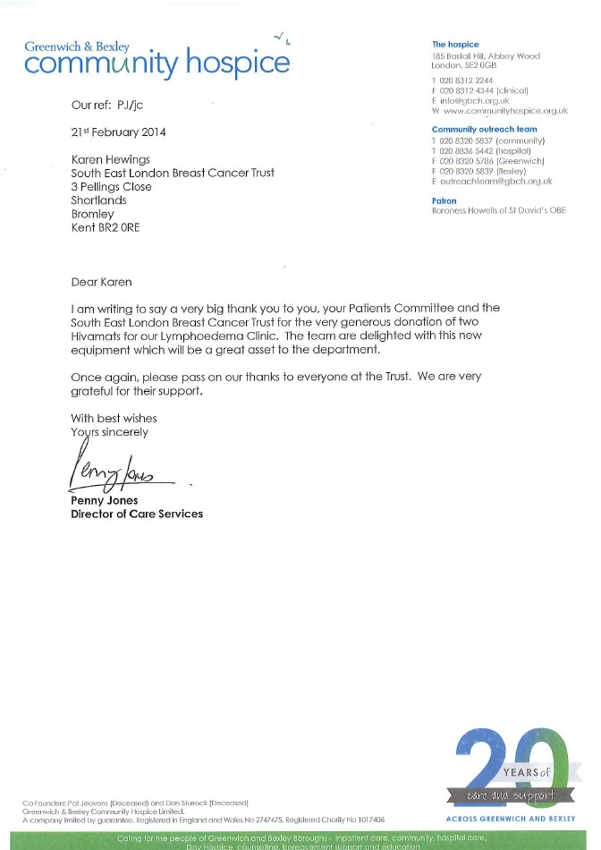 Thank You Letter - Greenwich & Bexley Community Hospice